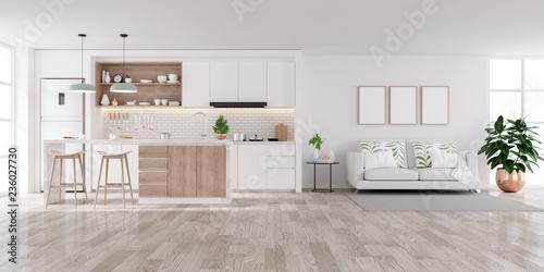 Photo  Modern white Home interior,living and kichen room  concept design,cozy house ,3d