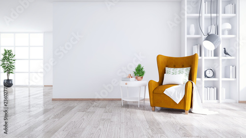 Stampa su Tela Modern and minimalist interior of living room ,Yellow armchair with white table