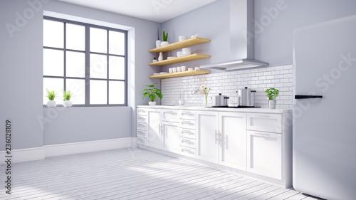 Modern kitchen white room interior, Scandinavian style .3drender Canvas Print