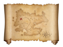Pirates Old Treasure Map Isolated Scroll