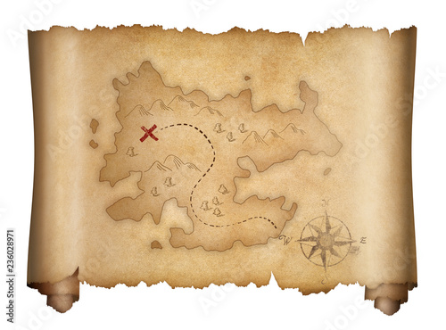 Foto pirates old treasure map isolated scroll