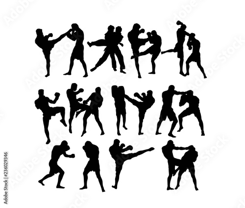 Photo Boxing  and Competition Silhouettes, art vector design