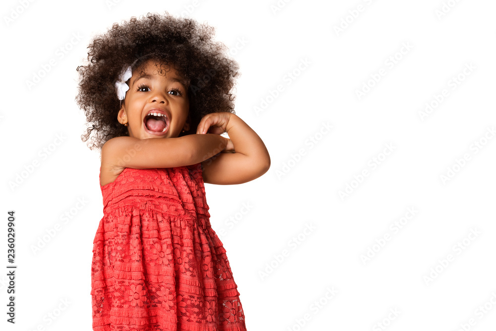 Fototapety, obrazy: Portrait of cheerful african american little girl, isolated with copyspace