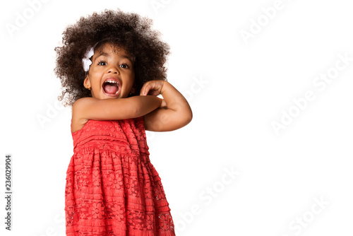 Fotografiet  Portrait of cheerful african american little girl, isolated with copyspace