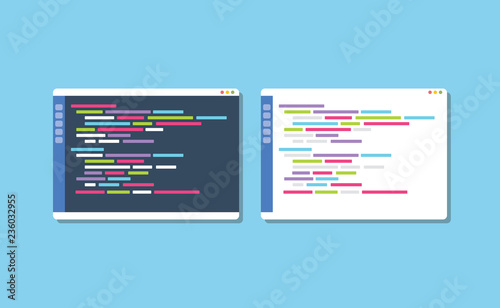 Obraz dark or white theme programming text editor compare vector - fototapety do salonu