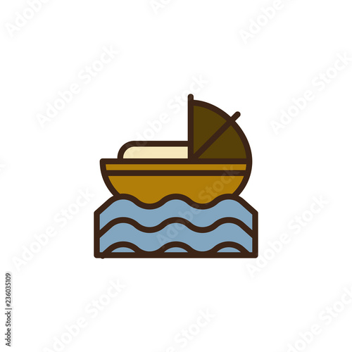 Fotomural Baby Moses in River filled outline icon, line vector sign, linear colorful pictogram isolated on white