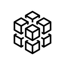 3d Cube With Eight Blocks. Icon Of Rubik Or Ice Pieces. Black Ic