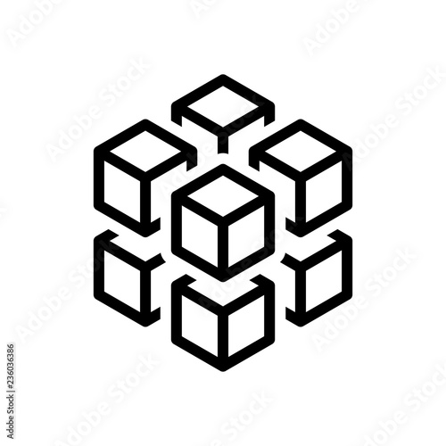 Photo 3d cube with eight blocks. Icon of rubik or ice pieces. Black ic