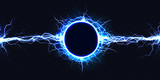 Fototapeta Miasto - Powerful electrical round discharge hitting from side to side realistic vector illustration isolated on black background. Blazing lightning circle strike in darkness Electric energy flash light effect