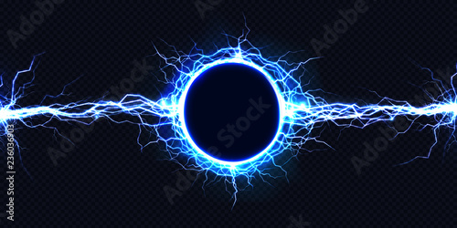 Canvas Print Powerful electrical round discharge hitting from side to side realistic vector illustration isolated on black background