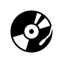 Vintage Vinyl, Audio Disc, Dj Player. Simple Icon, Music Logo. B