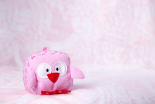 Toy Owl On A Pink Background