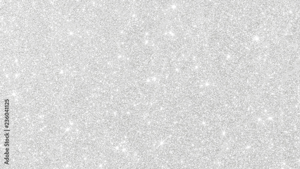Fototapeta Silver glitter texture white sparkling shiny wrapping paper background for Christmas holiday seasonal wallpaper decoration, greeting and wedding invitation card design element