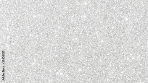 Obraz Silver glitter texture white sparkling shiny wrapping paper background for Christmas holiday seasonal wallpaper decoration, greeting and wedding invitation card design element - fototapety do salonu