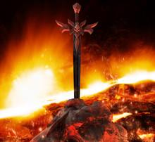 Demon Skull Styled Steel Sword In Stone.