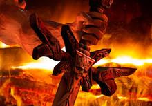 Demon Hand Holding A  Skull Sword.