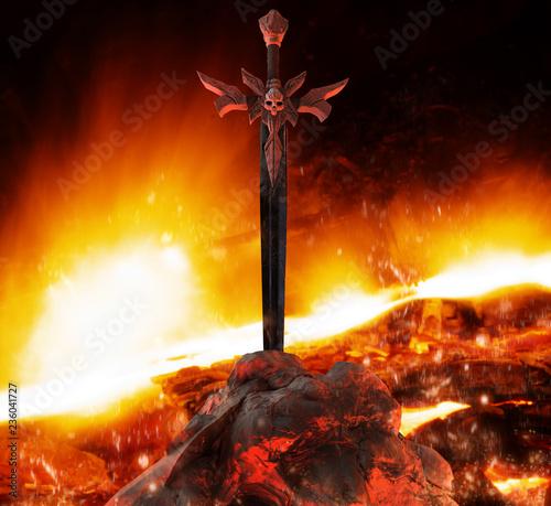 Photo Demon skull styled steel sword in stone.
