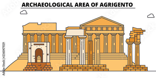 Photo Archaeological Area Of Agrigento  line travel landmark, skyline vector design