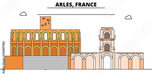 Arles, Roman And Romanesque Monuments line travel landmark, skyline vector design Wallpaper Mural