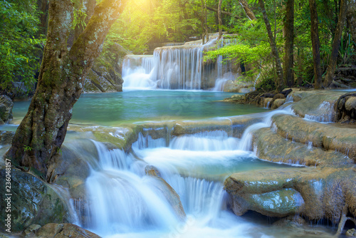 Tuinposter Watervallen Beautiful waterfall in rainforest at National Park, Thailand