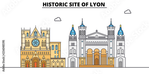 Historic Site Of Lyon  line travel landmark, skyline vector design. Historic Site Of Lyon  linear illustration.