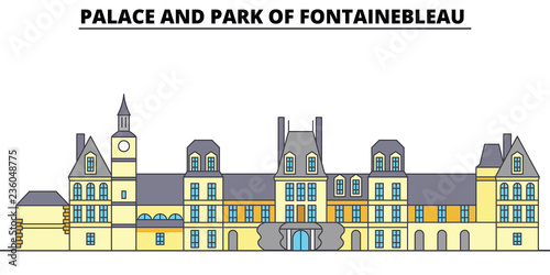 Foto op Plexiglas Antwerpen Palace And Park Of Fontainebleau line travel landmark, skyline vector design. Palace And Park Of Fontainebleau linear illustration.
