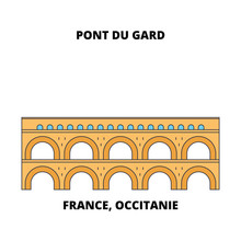 France, Occitanie - Pont Du Gard (Roman Aqueduct) Line Travel Landmark, Skyline Vector Design. France, Occitanie - Pont Du Gard (Roman Aqueduct) Linear Illustration.