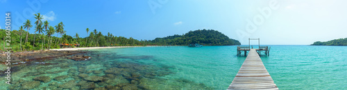 Fototapety, obrazy: Panoramic beautiful tropical island and long wooden bridge go to the sea, Thailand.
