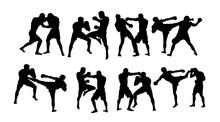 Boxer Duel Silhouettes, Art Vector Design