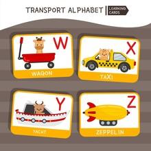 Vector Cute Kids Transport Alphabet. Letter W-Z. Cute Cartoon Cars With Animals.