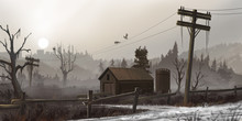 Abandoned House In The Dead Land. Fiction Backdrop. Concept Art. Realistic Illustration. Video Game Digital CG Artwork. Nature Scenery.