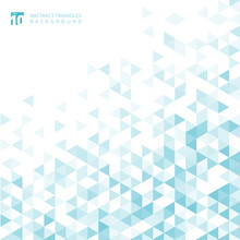 Abstract Striped Blue Color Geometric Triangle Pattern White Color Background And Texture With Copy Space.