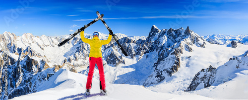 Garden Poster Winter sports Ski woman in high mountains