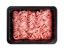 Black Plastic Tray With Raw Fresh Pork Minced Meat Isolated On White Background. Packaging Design For Mock Up.