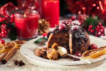 Christmas Fruit Pudding On A Plate