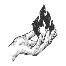 Fire In Hand Engraving Vector Illustration. Scratch Board Style Imitation. Black And White Hand Drawn Image.