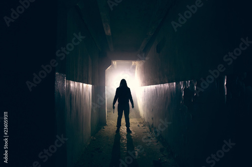 Silhouette of maniac with knife in hand in long dark creepy corridor, horror psy Canvas Print
