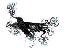 Black Raven With Music Notes