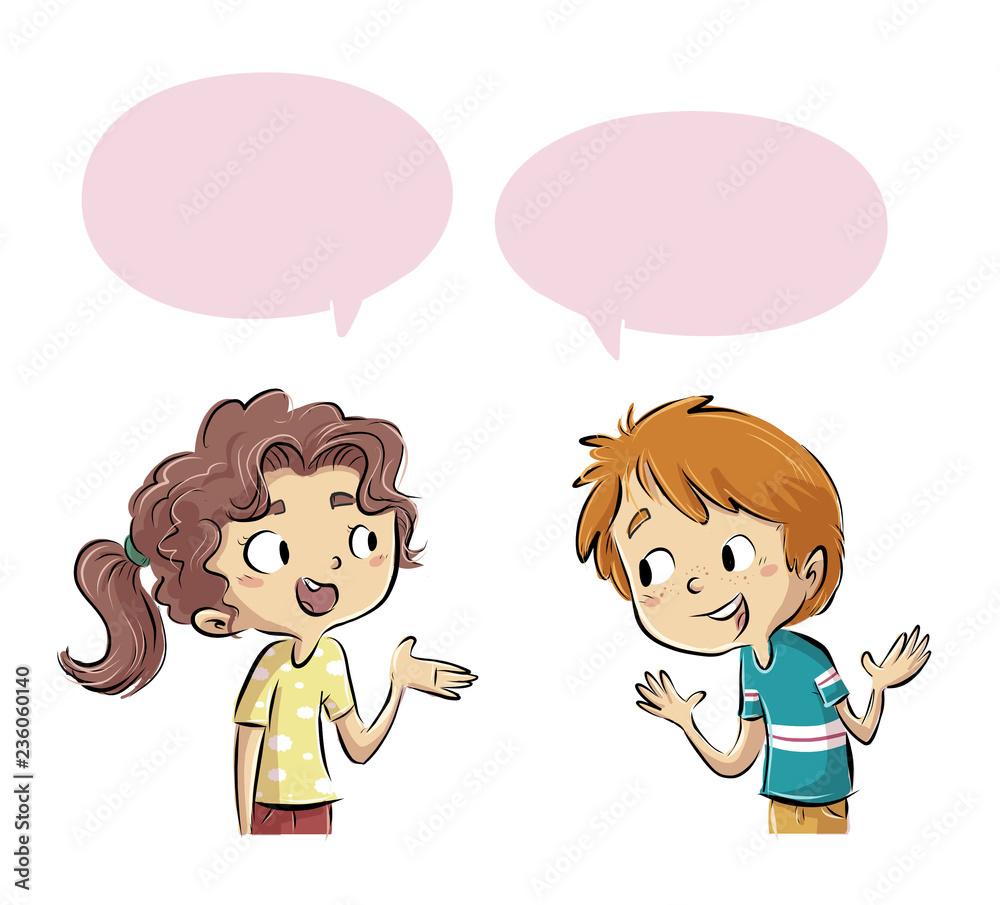 Fototapeta niños hablando