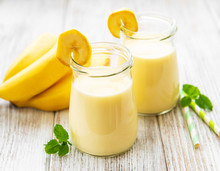 Banana Yogurt And Fresh Bananas