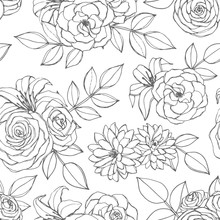 Vector Seamless Pattern With Rose, Lily, Peony And Chrysanthemum Flowers Line Art On The White Background. Hand Drawn Floral Repeat Ornament Of Blossoms In Sketch Style. Usable For Coloring Books.