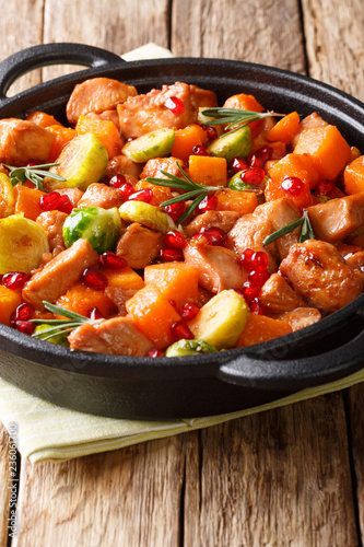 Chicken stew with vegetables and herbs in a pomegranate sauce close-up in a pan. vertical