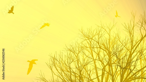 Keuken foto achterwand Zwavel geel Lonely tree without leaves in fog or mist lit by bright orange sun god rays and flying seagulls birds. 3d illustration. Travel and camping concept
