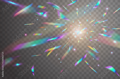 Fotomural Holographic falling confetti isolated on transparent background