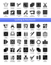 Quilting & Patchwork Supplies. Tools For Sewing Quilts From Fabric Squares & Blocks. Patterns For Quilters. Vector Flat Icon Set. Isolated Objects