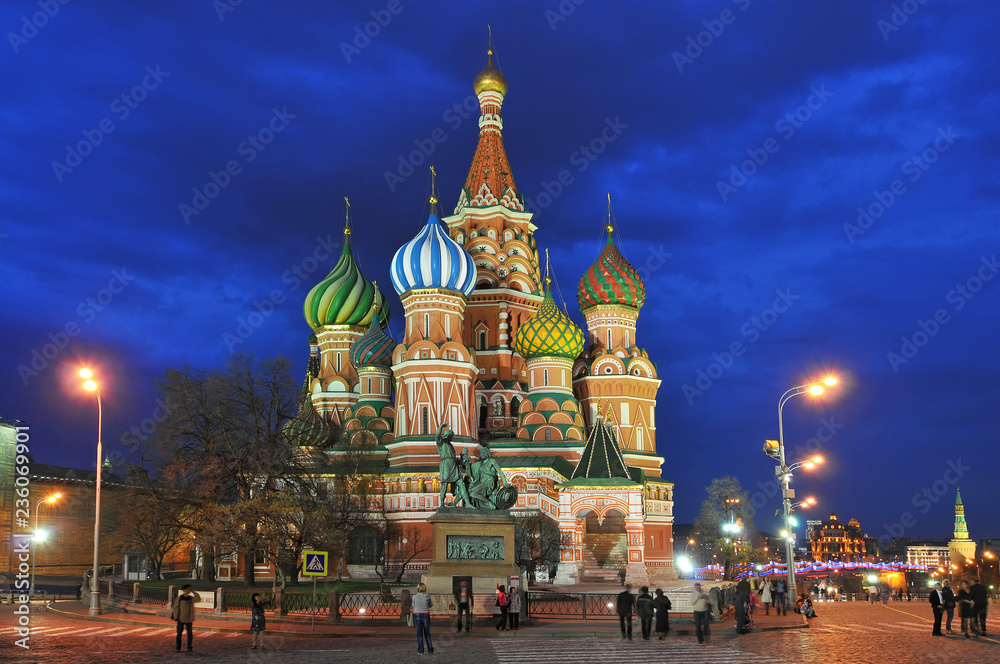 Fototapety, obrazy: Russia, Moscow, Saint Basil's Cathedral, Red Square.