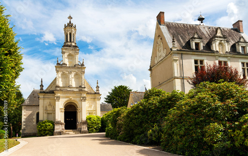 Poster Monument France. Old church of St. Louis was built next to the Chambord castle under Louis XIV.