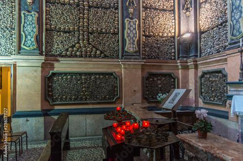 Old Church in Milan with bones, San Bernardino alle Ossa, since 1145 Canvas Print
