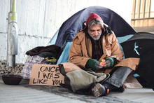 Homeless Beggar Man Sitting Ou...