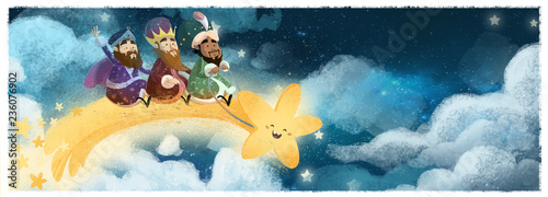 Leinwand Poster reyes magos volando con estrella en navidad